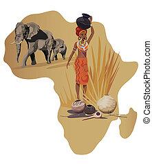 símbolos, de, áfrica