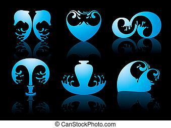 símbolos, de, agua