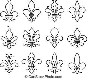 símbolos, de, conjunto, fleur, lys