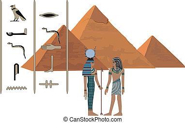 símbolos, de, egipto