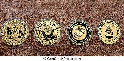 símbolos, de, eua, militar, exército, marinha, airforce, marines