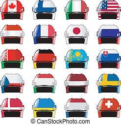 símbolos, de, hóquei, nações