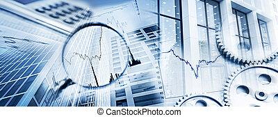 símbolos, de, negócio, e, finanças