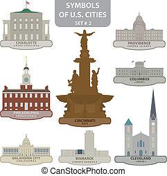 símbolos, de, nosotros, ciudades