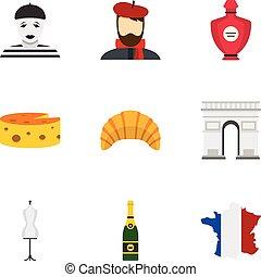 símbolos, de, parís, iconos, conjunto, plano, estilo