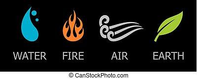 símbolos, de, quatro elementos, -, água, fogo, ar, e, terra