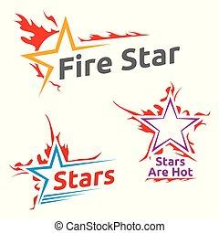 símbolos, de, queimadura, estrelas