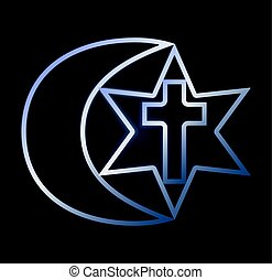 símbolos, de, três, religiões, vetorial, ilustração