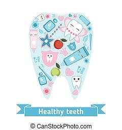 símbolos, dental, forma, cuidado