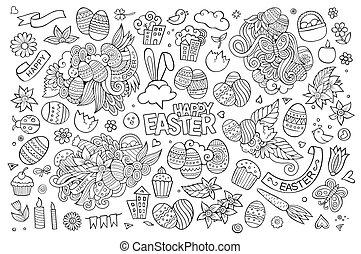 símbolos, desenhado, objetos, páscoa, mão