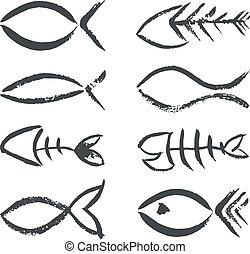 símbolos, dibujado, pez, mano