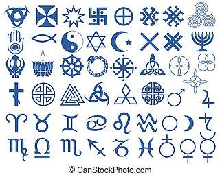 símbolos, diferente, humanidad, creado