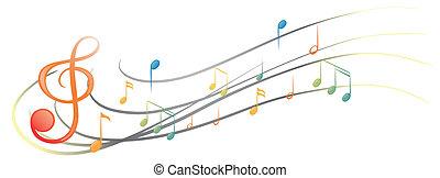 símbolos, diferente, notas, musical