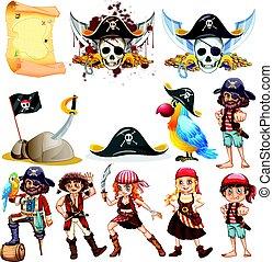 símbolos, diferente, pirata, caráteres