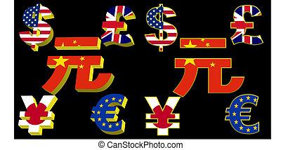 símbolos, dinero, banderas