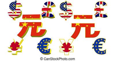 símbolos, dinero, banderas, luz