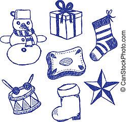 símbolos, doodles, jogo, natal