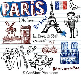 símbolos, doodles, miedoso, francia