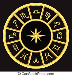 símbolos, dorado, zodíaco