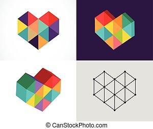 símbolos, elementos, colorido, resumen, colección, iconos, creativo, plantilla, digital, logotipo
