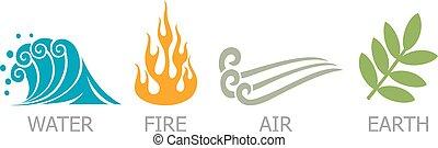 símbolos, elementos, -, fogo, ar, quatro, água, terra