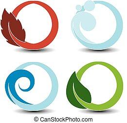 símbolos, elementos, natural, natureza, -, ar, fogo, onda, água, vetorial, terra, água, chama, folha, bolha, circular
