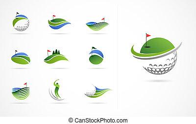símbolos, elementos, taco golfe, ícones, cobrança, logotipo
