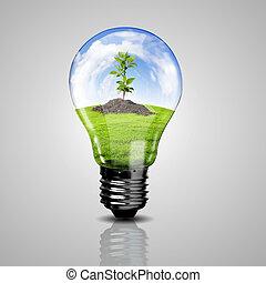 símbolos, energía, verde