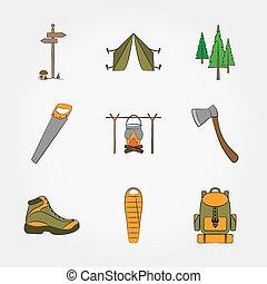 símbolos, equipo, set., campamento, iconos