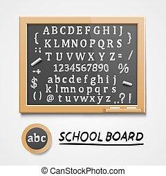 símbolos, esboço, jogo, chalkboard, english.