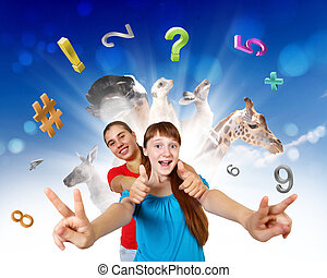 símbolos, escola, objetos, educação, menina
