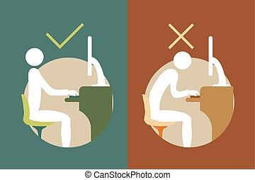 símbolos, espalda, correcto, oficina, sentado
