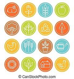 símbolos, estilo, lineal, granja, vector, moderno, señales, ...