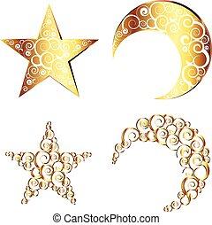 símbolos, estrella, luna medialuna