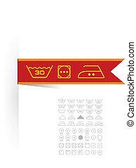 símbolos, etiqueta, ropa