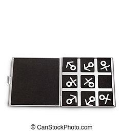 símbolos, feminina, jogo, masculino, tic-tac-dedo pé