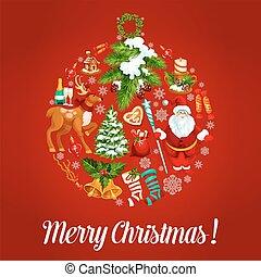 símbolos, feriado, bola, bauble, natal