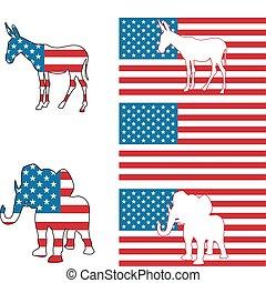 símbolos, fiesta, político, estados unidos de américa