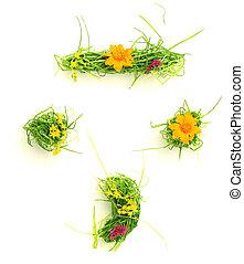 símbolos, flores, feito, capim