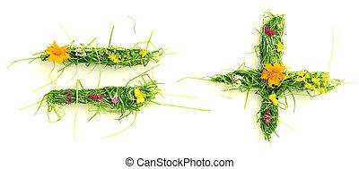 símbolos, flores, hecho, pasto o césped