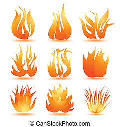símbolos, fogo, jogo