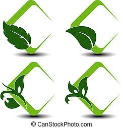 símbolos, folha, vetorial, natural