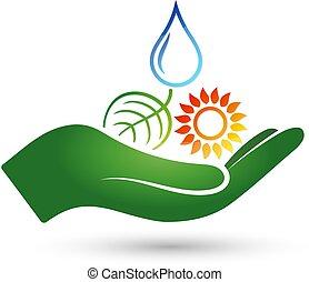 símbolos, fontes, energia, alternativa, mão