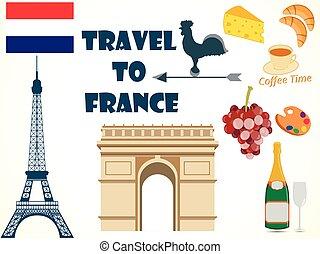 símbolos, france., set., tourism.