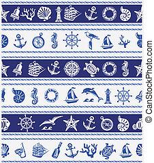 símbolos, fronteiras, mar, náutico