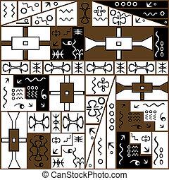 símbolos, fundo, africano