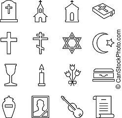 símbolos, funeral, linear, ícones