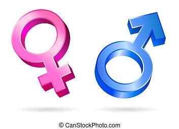 símbolos, género, macho, hembra