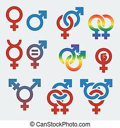 símbolos, género, vector, sexual, orientación