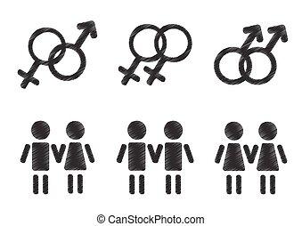 símbolos, gênero, jogo